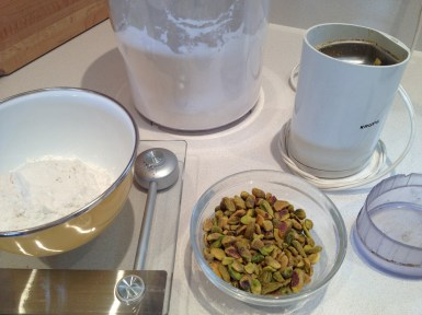 Flour weighed - so can take a portion to grind the pistachio flour