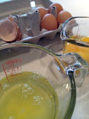 Separating the whites and yolks