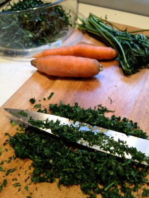 Chopped carrot greens