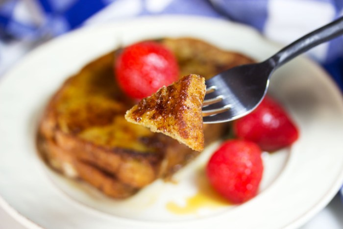 delicious french toast on a fork