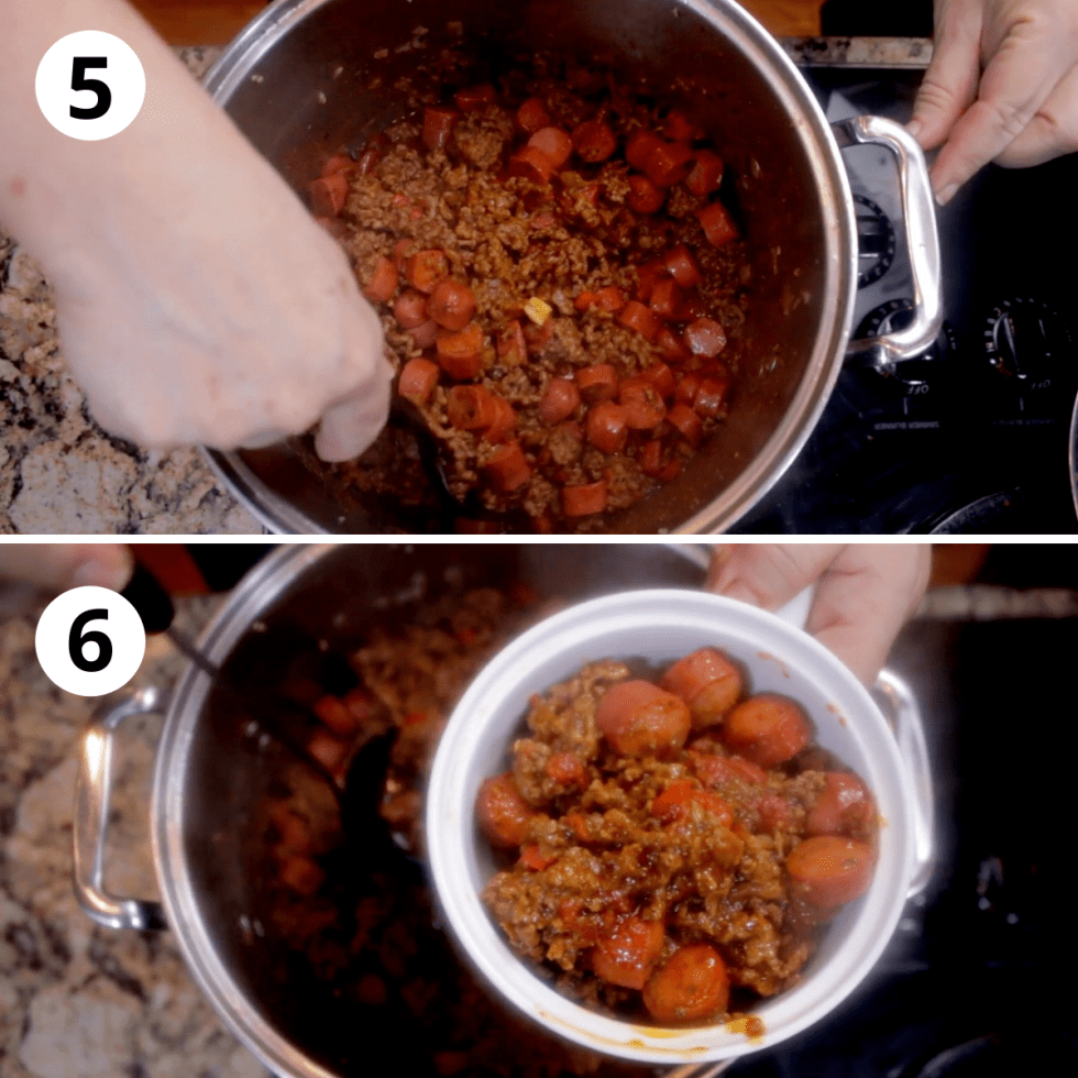 Stir in bite size slices of hot dogs, simmer, then serve and enjoy