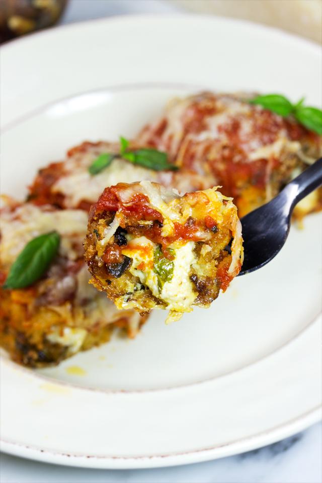 forkful of eggplant rollatini