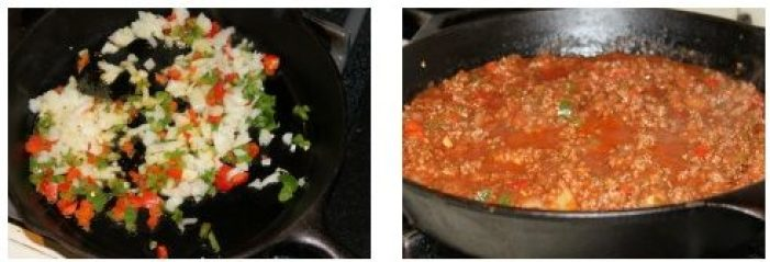 collage of peppers and onion in a pan and ground beef sauce in a pan