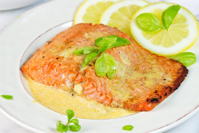 Salmon with Gluten Free Dijon Sauce