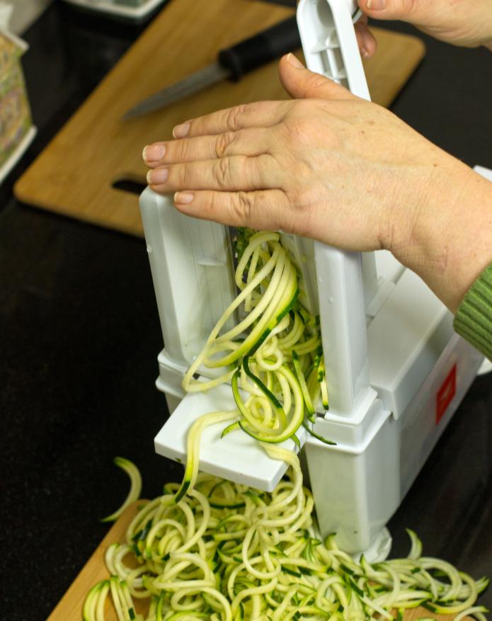 cutting zucchini with a spiralizer