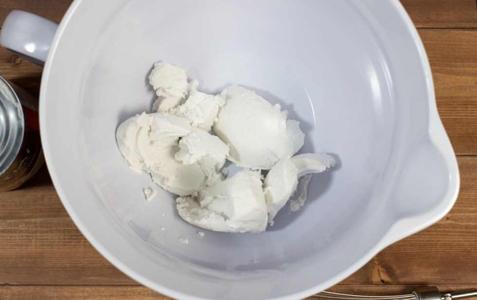 coconut cream in a white mixing bowl