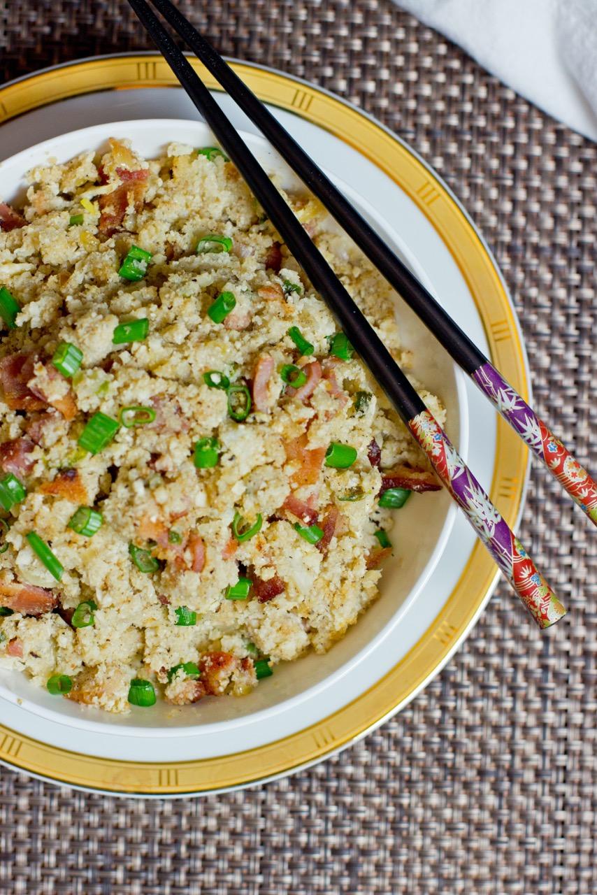 Cauliflower fried rice with pretty chop sticks