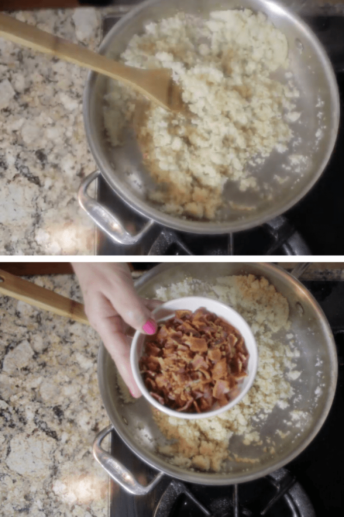 Cook cauliflower and add bacon