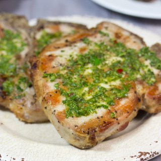 gluten free, brine, grilled, pork chop, chimichurri sauce , paleo