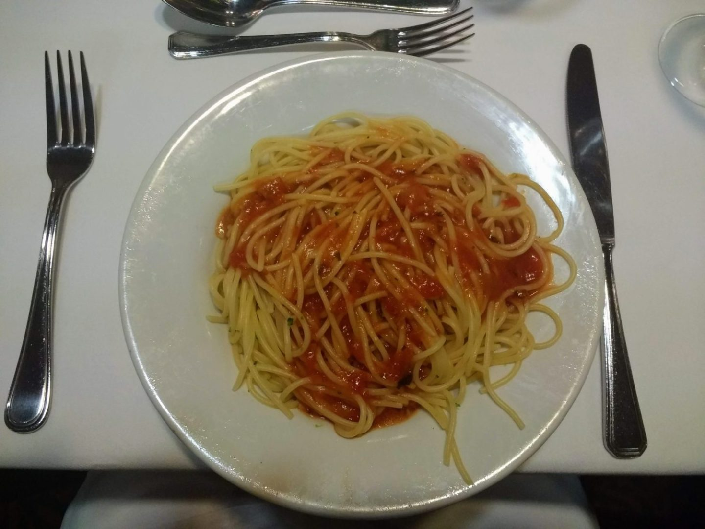 Eating Gluten Free on Marella Cruises - pasta pomodoro