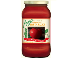 Amy's Organic Pasta Sauce Family Marinara, one of the best gluten free pasta sauce brands