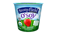 Stonyfield O'Soy yogurt with different flavors