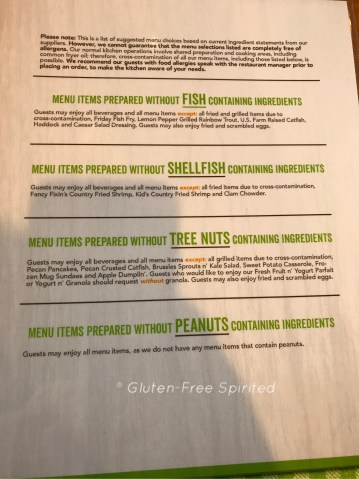A picture of Cracker Barrel's fish-free, shellfish-free, tree nut-free, and peanuts-free menu