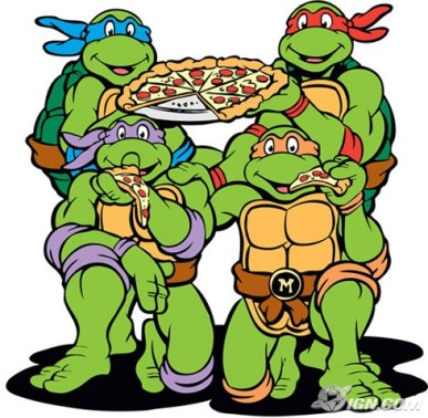A picture of Teenage Mutant Ninja Turtles with pizza.