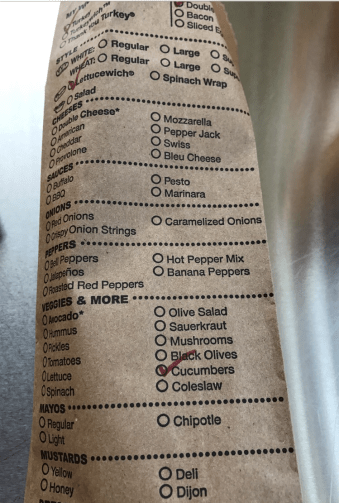 Order your wich on a brown paper bag.