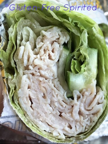 Turkeywich with lettuce wrap.