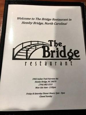 The Bridge restaurant in Hemby Bridge, NC.