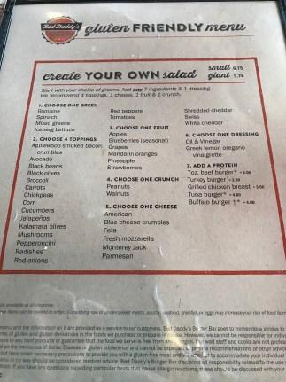Bad Daddy's Burger Bar gluten-free menu
