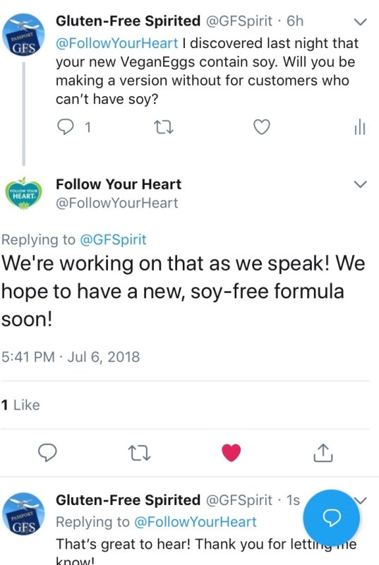 Tweet response from Follow Your Heart