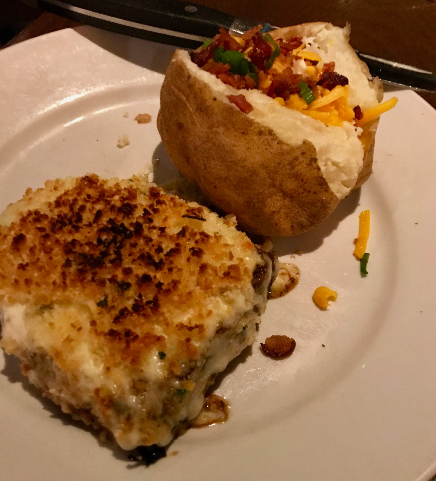 Parmesan Crusted Steak with loaded baked potato