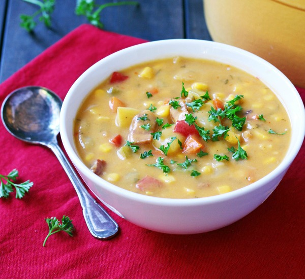 Gluten free corn bacon potato chowder