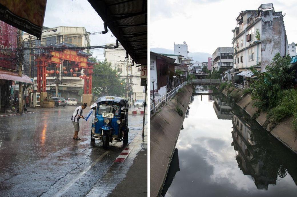 Tuk Tuk und Fluss in Chiang Mai, Thailand
