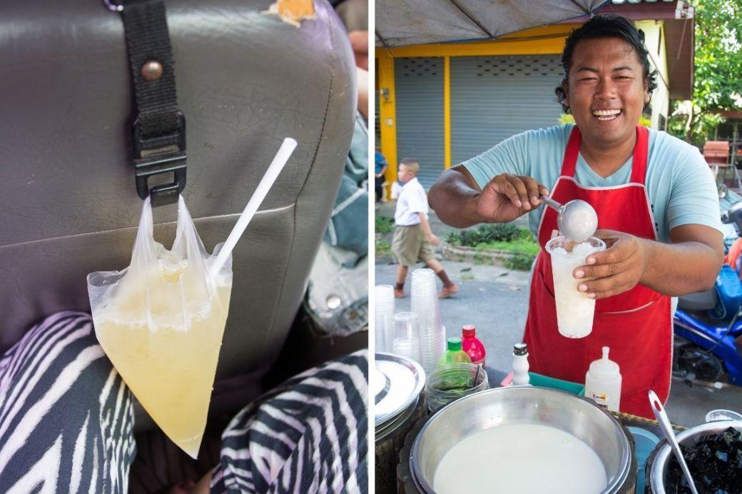 Getränk in Tüte und Getränkeverkäufer auf Markt in Chiang Mai, Thailand
