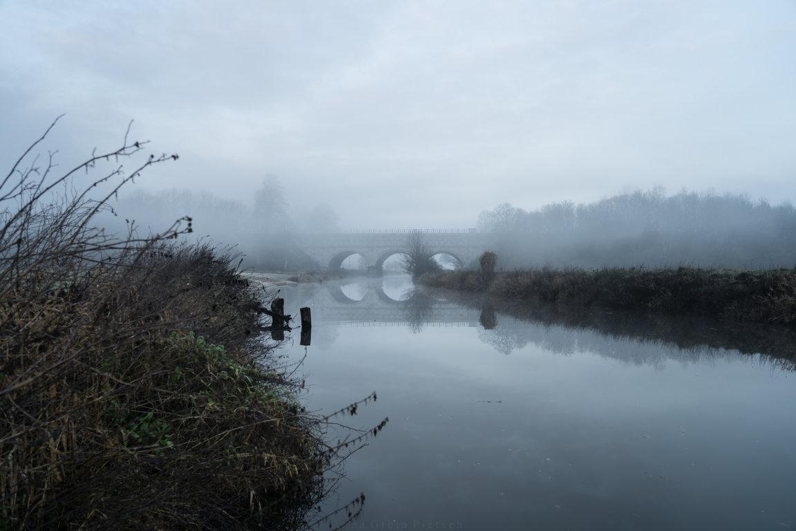 Dreibogenbrücke im Morgengrauen, Olfen