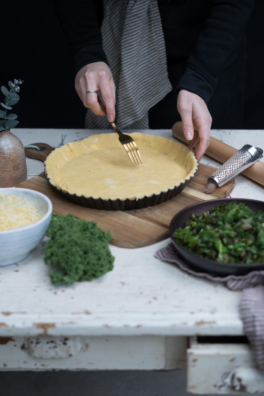 Zubereitung der Grünkohl Tarte