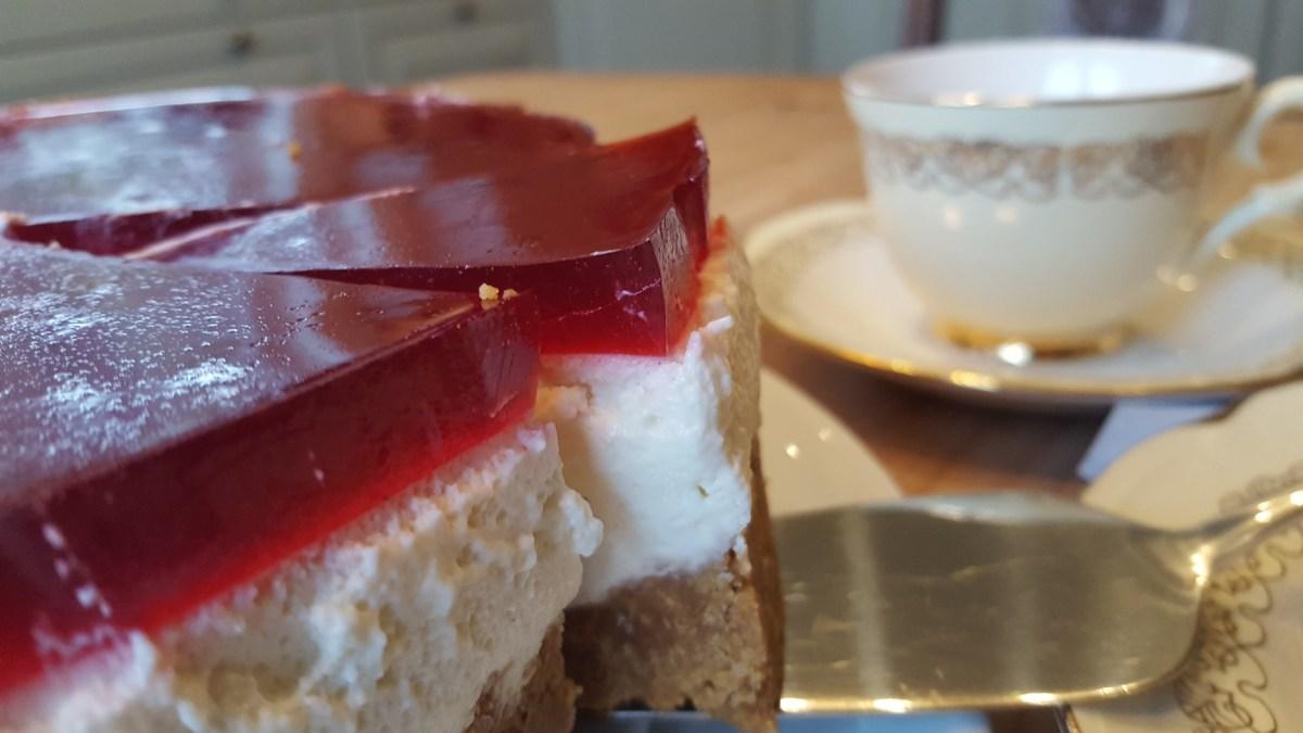 Gluten- og melkefri ostekake med gelélokk