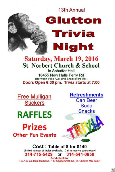 Trivia Night 2016 Flyer