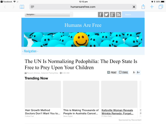 Article from Humans are free accusing the UN of 'normalising pedophilia'