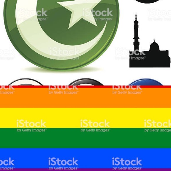 Islam symbol and mosque (top), LGBTQ pride flag (bottom)