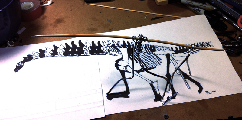 Working the armature up from Jaime A. Headden's reconstruction, found here. I find the bamboo/aluminum armature design to be really great for this kind of thing; the bamboo is thermoplastic, so you can get it to shape easily, and then it holds its shape, where the aluminum bends easily enough to reposition joints at whim.