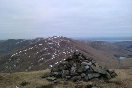 Beinn Chaorach and a'Mhanaich summit cairn
