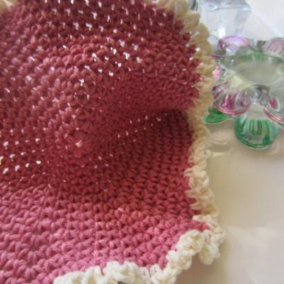 rose cotton single crochet hexagon dishcloth 031