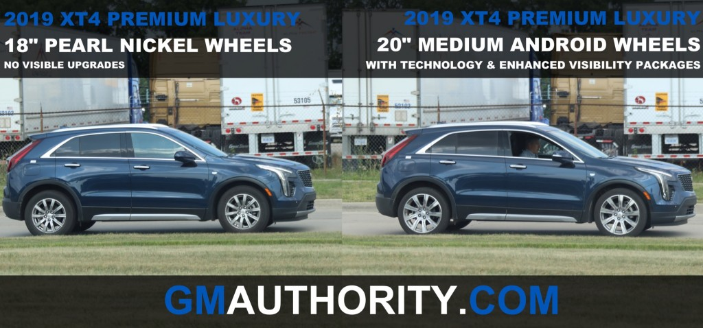 2019 Cadillac XT4 Premium Luxury - 18 inch Pearl Nickel Wheels vs 20 inch Medium Android Wheels - Side View