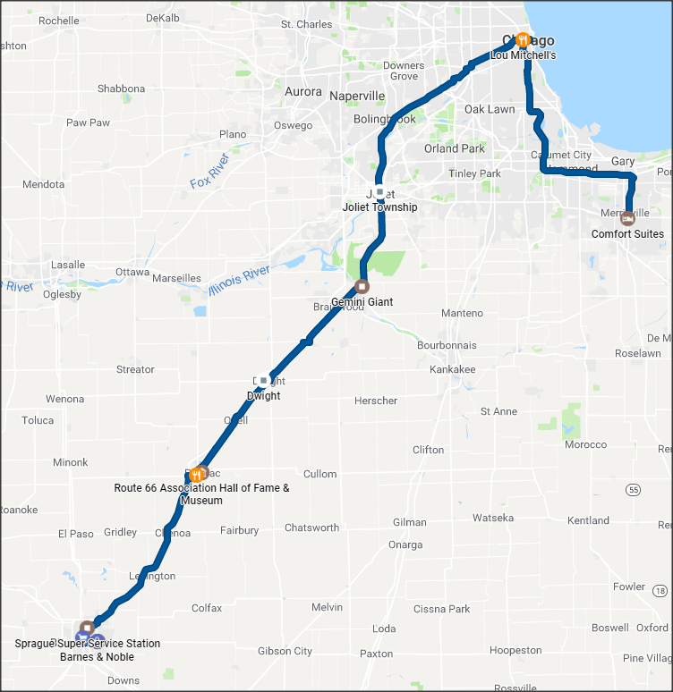 Map showing route from Merrillville to Bloomington