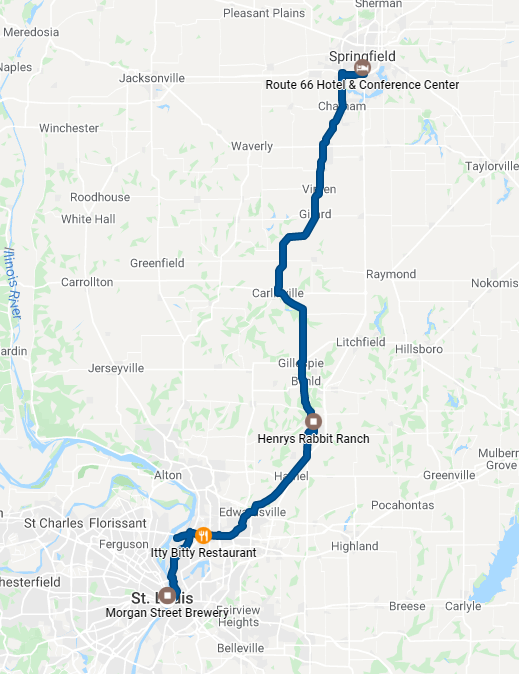 Route Map Springfield to St. Louis