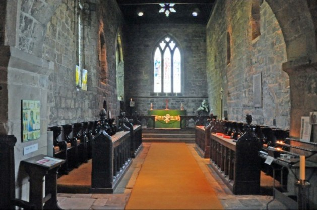 Inside the chancel of St Paul's parish church, Jarrow, Tyne and Wear, looking east to the altar. The chancel was completed in AD 685 as the original Anglo-Saxon part of the church.