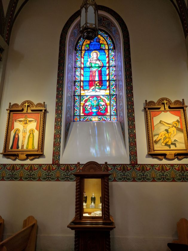 Stained glass and folk art stations of the cross, Santa Fe