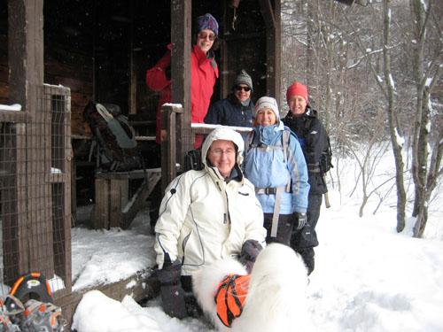 Snowshoe hike on Nebraska Notch trail to Taylor Lodge