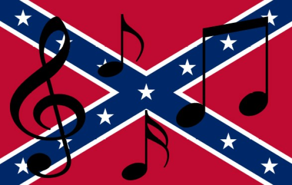 Public domain Confederate flag image taken from http://commons.wikimedia.org/wiki/File:Confederate_Rebel_Flag.svg. I added the musical notes in Photoshop.