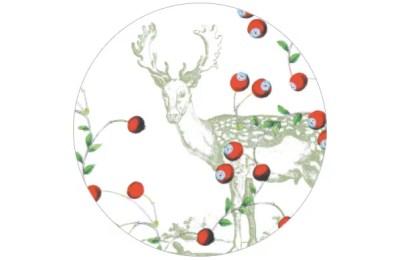 Tapete Beerenwild mit Hirschen