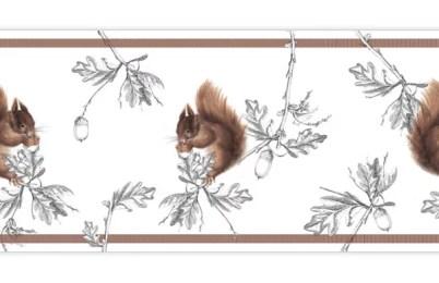 Edle Eichhörnchen schmücken diese Tapetenborte