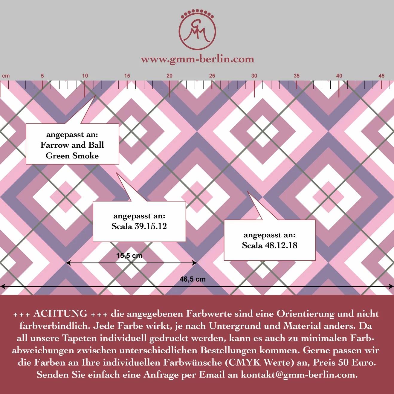warme diamant tapete rosa lila mit karo gr n grau. Black Bedroom Furniture Sets. Home Design Ideas
