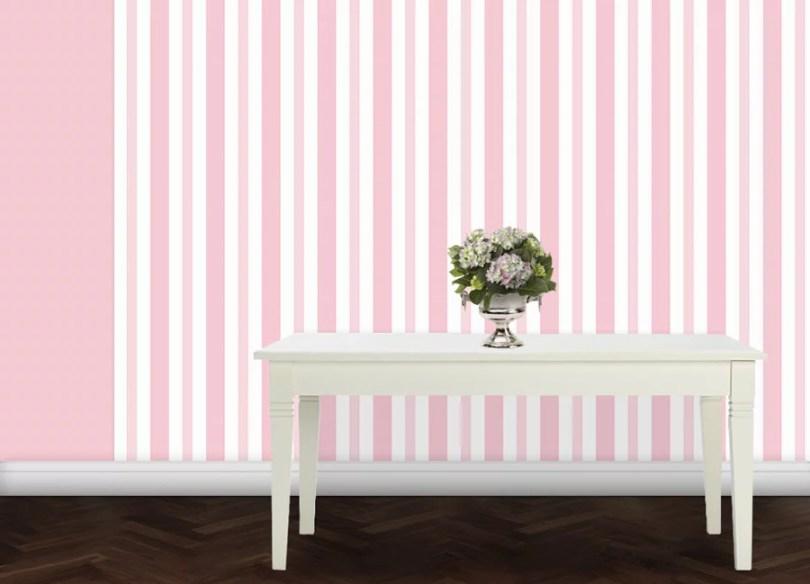 Hell rosa Baby/ Kinder Streifen Tapete