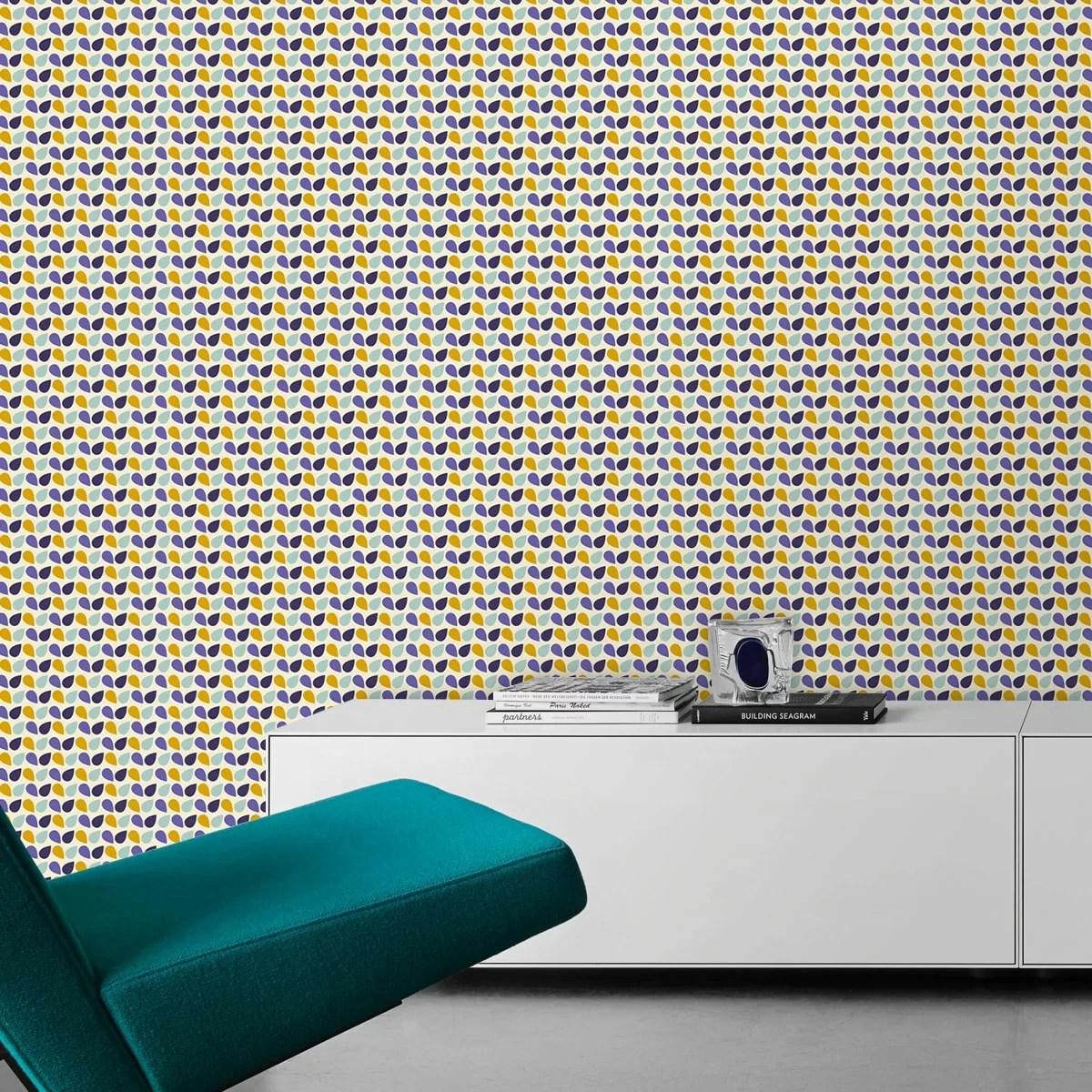 kleingemusterte fr hliche tropfen tapete funny drops in. Black Bedroom Furniture Sets. Home Design Ideas