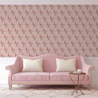 "Blüten Retro Tapete ""Blissful Spring"" mit Schmetterlingen auf rosa angepasst an Farrow and Ball Wandfarben- Vliestapete Blumen"
