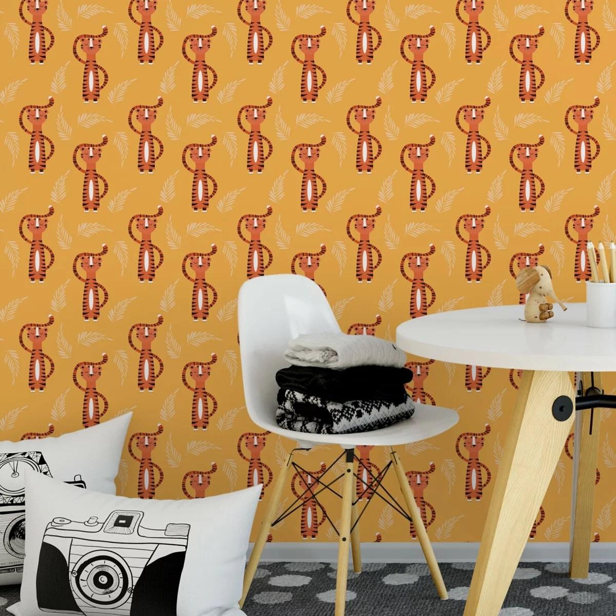 Trendige Kinder Jugend Tapete Mit Lustigem Sieger Tiger Auf Gelb Angepasst  An Ikea Wandfarben  Vliestapete